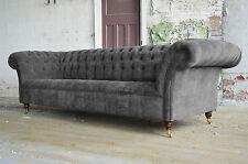 MODERN HANDMADE SLATE GREY VELVET CHESTERFIELD SOFA COUCH CHAIR 3 SEAT
