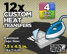 12 Custom Plastisol Heat Transfers Iron-On (4 color) MAX Logo Size 7.5 x 4.5 in.