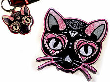 Sugar Skull Cat Day of the Dead Dios De Los Muertos Keychain Patch combo pack