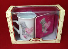 ME TO YOU BEAR/TATTY TEDDY MUG, TRAY AND COASTER PINK HEART GIFT SET