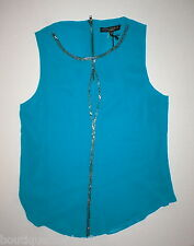 Womens NWT New S Dark Aqua Blue Beaded Top Blouse Sanctuary Anthropologie Zip