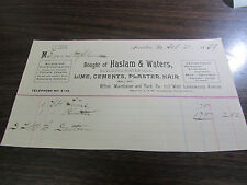 VINTAGE - HASLAM & WATERS - BUILDING MATERIALS - SCRANTON PA - BILLHEAD - 1889