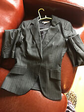 ZARA black pinstriped suit jacket trousers size 10-12