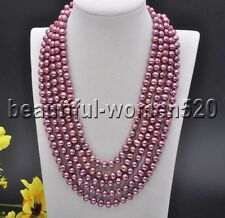 Z7691 8mm Round Purple Freshwater Culture PEARL Necklace 100inch
