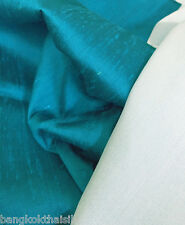 DARK TURQUOISE 100% SILK DUPIONI WITH WHITE BACKING UPHOLSTERY PILLOW FABRIC
