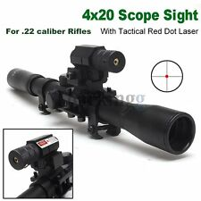 Pro Telescope 4x20 Hunting AirSoft Rifle Scope Sight + Red Laser Tactical Set