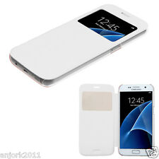 FOR SAMSUNG GALAXY S7 FOLIO FLIP POUCH CASE W/ VIEWING WINDOW COVER WHITE