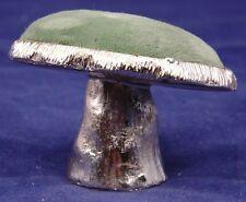 """Vtg Green Velvet Mushroom Pin Cushion-2"""" Tall, 2 3/4 Diam."""