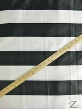 "STRIPED SATIN FABRIC - WHITE/BLACK STRIPES - 60"" WIDTH - SOLD BTY"