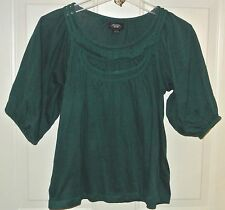 Deletta Anthropologie Top Shirt Blouse Braided Hunter Green Sz XS Ladies Womens