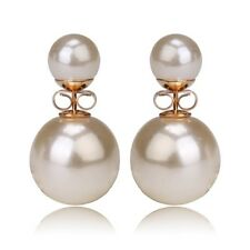 Gold Plated Fancy Double Sided Pearl Earring