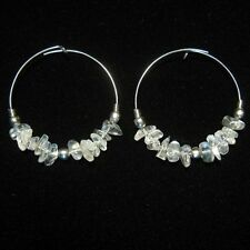 CRYSTAL GEMSTONE ROCK  HOOPED EARRINGS SILVER DANGLY HOOPS CLEAR STONE