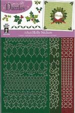 Stickers Holly Leaves Red Jewels Dark Mirror Green NEW HOTP Dazzles Mix Em