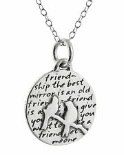 Two Birds Necklace - 950 Sterling Silver Handmade Inspirational Friends Pendant