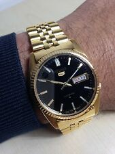 Orologio Vintage Seiko 5 Automatico Gold 7009 Day_date Mm 37 Watch W.r. Black