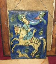Antique Persian Middle Eastern Tile Falconeer on Horse