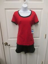 NWT 2 Pc SJB Workout Large Black Shorts & Red Shirt Top St John's Bay exercise L