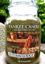 "Yankee Candle ""AUTUMN LODGE"" Fresh Scented Large 22 oz.~ WHITE LABEL~ NEW!"
