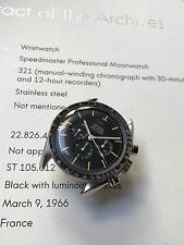 Omega Speedmaster Professional 105012-65 Cal 321 + Extract Of Archive