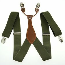 Unisex Men Women Dark Green Adjustable Y-back Braces Suspenders Clip-on BD603