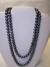 14K Clasp AA+ 8-9mm tahitian black pearl necklace 48inch  AA