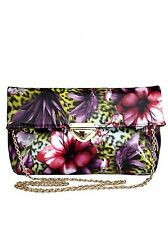 Womens New Medium Tropical Floral Leopard Glossy Fold Over Clutch / Shoulder Bag