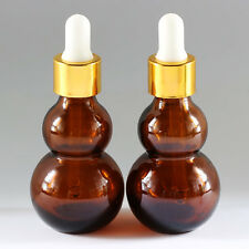 2 - 1oz Amber Glass Bottles with Glass Eye Dropper Pack of 2 New 30 ML