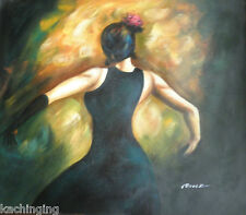 Large Hand Painted Modern Oil Painting On Canvas Spanish Flamenco Dancer