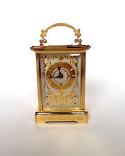 IGOR CARL FABERGE Wind Up Carriage Clock Gold Silver Ruby Set Swiss Key