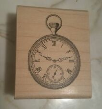 Pocket Watch Rubber Stamp NEW Stamping Paper Inspirations Clock F0114 Wood 1999