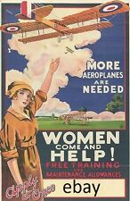 WW1 POSTER ROYAL FLYING CORPS MORE PLANES WOMEN HELP RAF NEW A4 PRINT