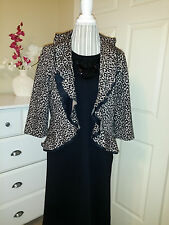 PRESWICK & MOORE Animal Print Open Front Knit Cardigan Jacket w. Ruffle Sz.PM