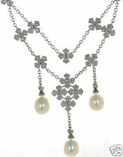 Solid 925 Sterling Silver Genuine Diamond & White Pearl Necklace '