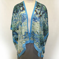 NEW NWT Cocoon House Van Gogh Olive Orchard 100% Silk Kimono Blouse Large / XL