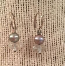 Grey Fresh Water Pearl & Quartz Crystal Earrings In Sterling Silver , Hand Made