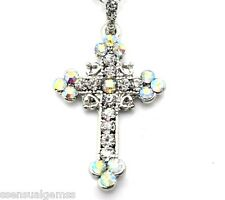 Cross Pendant Women's W Swarovki Crystal Necklace Silver Plated New