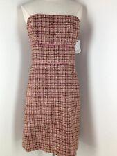 New Women ABS A.B.S By Allen Schwartz Brown Pink Tweed Strapless Dress Size 12