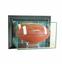 New Wall Mounted Football Display Case GLASS UV Black Molding FREE SHIPPING