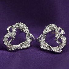 18k white gold gp made with SWAROVSKI crystal heart stud earrings