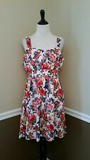 NEW Modcloth Belles in Your Courtyard Dress L White Floral Sundress Retro A-Line
