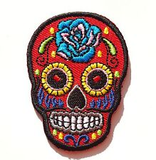 Petit écusson patch tête de mort Mexicaine Calavera tattoo - Rouge
