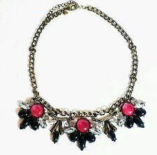 J Crew Powder Crystal Statement Necklace Flower Brass Look Pink Blue Woman's