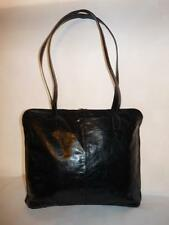 Latico NJ USA Black Glazed Leather Tote Carryall Bag Double Zip Top Closure