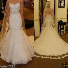 2016 Custom Mermaid White Ivory Lace Wedding Dress Bridal Gown Ball gown Size