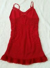 Free People Anthropologie Women S Red Crochet Knit Mini Dress Tank Festival Boho