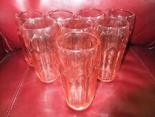 Vintage Cambridge Set Of Eight Pink Depression Glass Tumblers