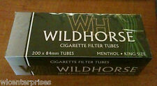 Wildhorse Menthol Flavor King Size Cigarette Tubes 200 Count Box