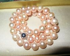 Lovely new genuine 10mm high lustre freshwater pink pearl necklace
