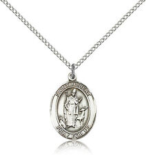 """Saint Hubert Of Liege Medal For Women - .925 Sterling Silver Necklace On 18"""" ..."""