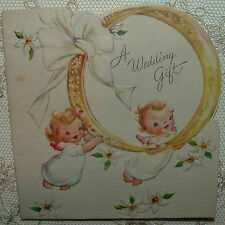 Little Angels Carry Wedding Ring - 1940's Vintage Wedding Gift Card